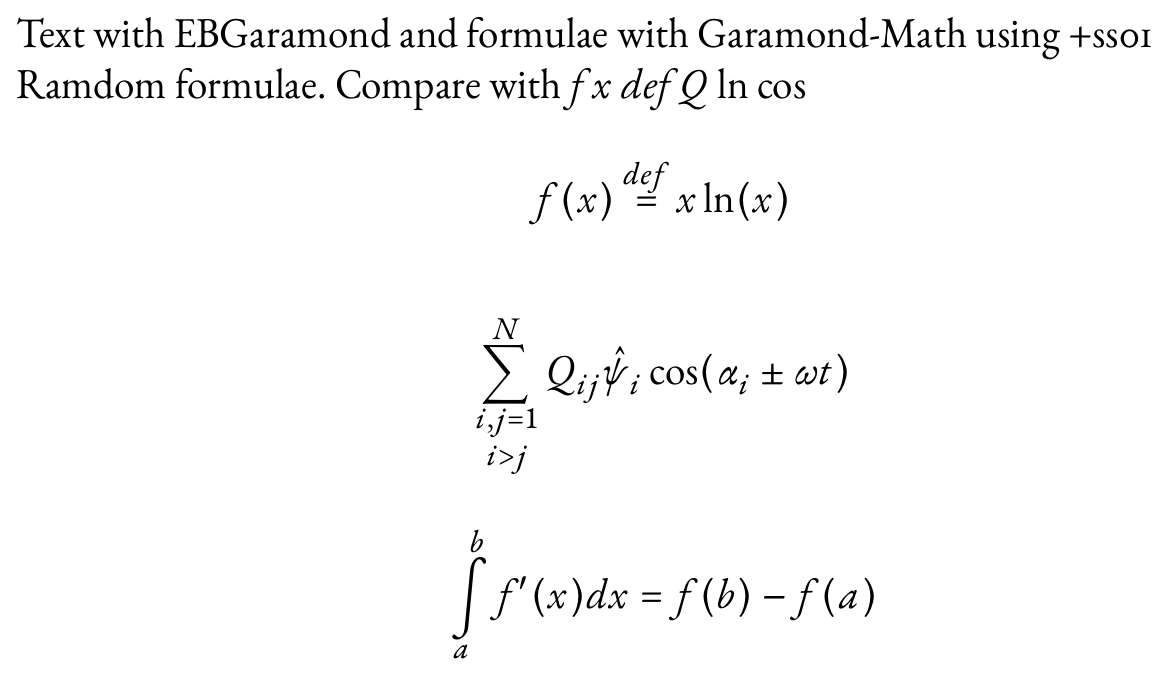 Garamond Math: a New Mathematical Font for Use With XeTeX